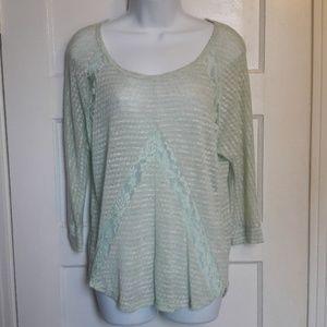 SzM Mint green lace  lightweight sweater